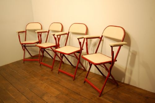 set of four vintage folding cricket ground arm chairs 1960