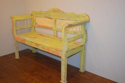 antique rustic pine farmhouse settle bench in original paint 1860
