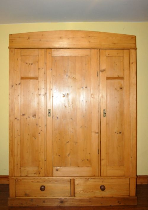 antique pine triple wardrobe with drawers 1900 dismantles