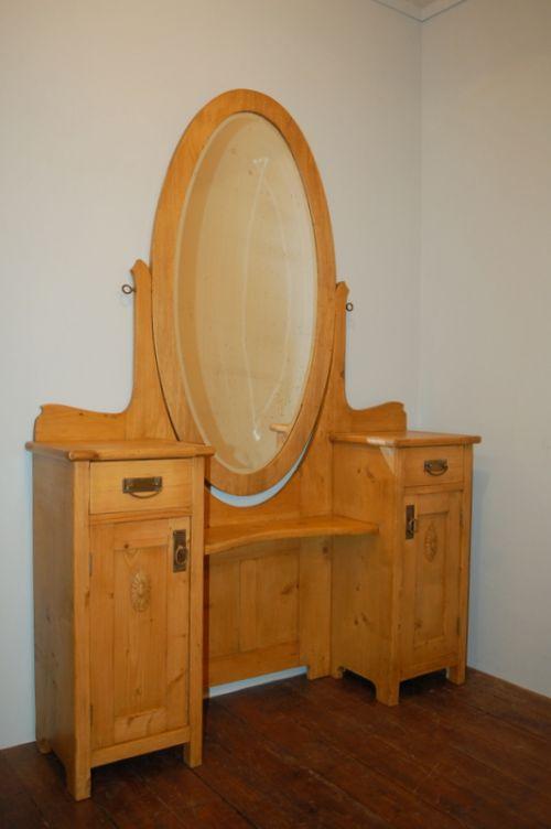 antique pine twin pedestal dressing table