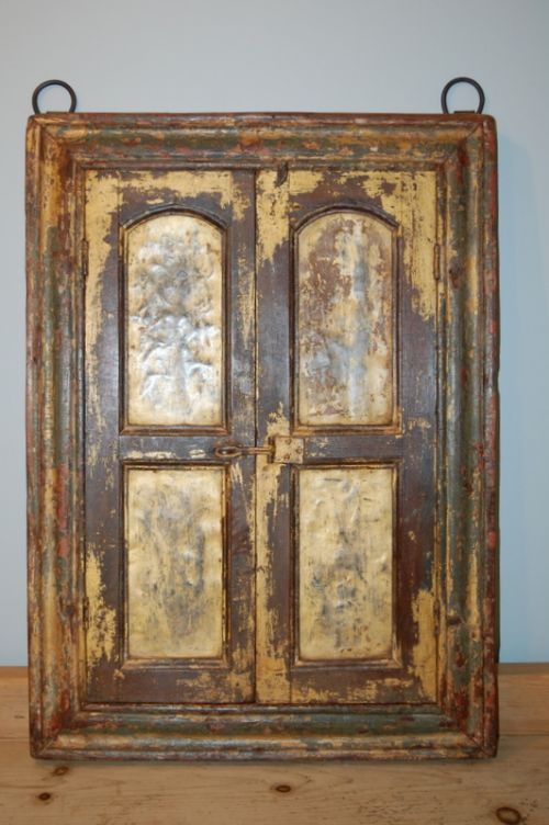 antique rustic shuttered frame with mirror 1870