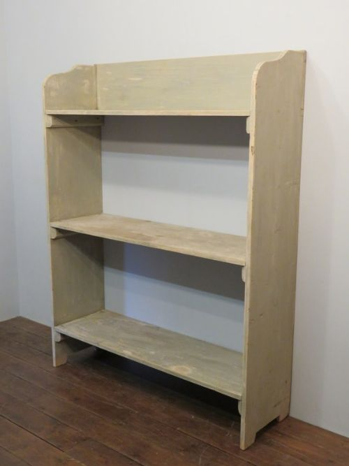antique rustic pine book or utilitarian storage shelf in original paint 1860