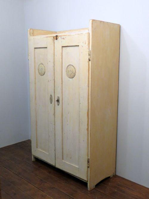 antique pine storage larder or linen cupboard in original paint 1890