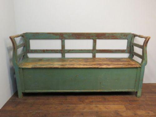 antique pine farmhouse box settle bench with storage original paint 1880