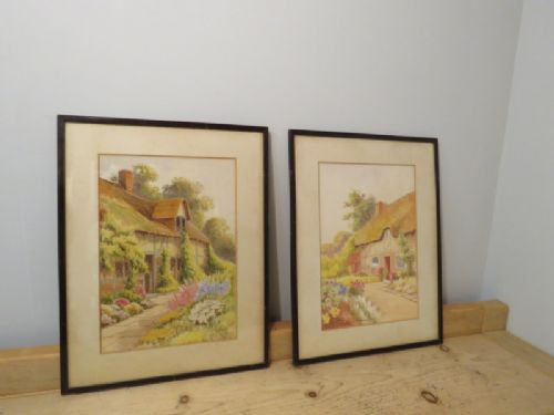 antique pair of original water colour paintings by a harrison barnes