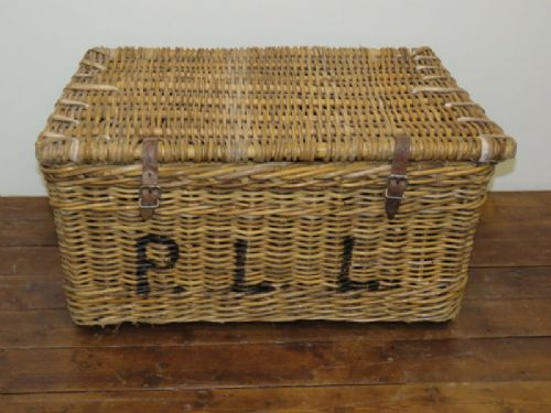 antique lidded willow hotel laundry basket