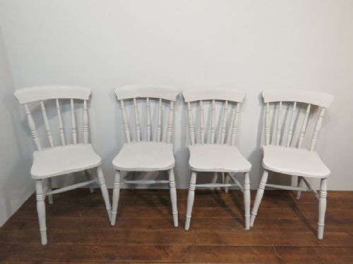 set of four victorian elm spindle back farmhouse chairs 1880