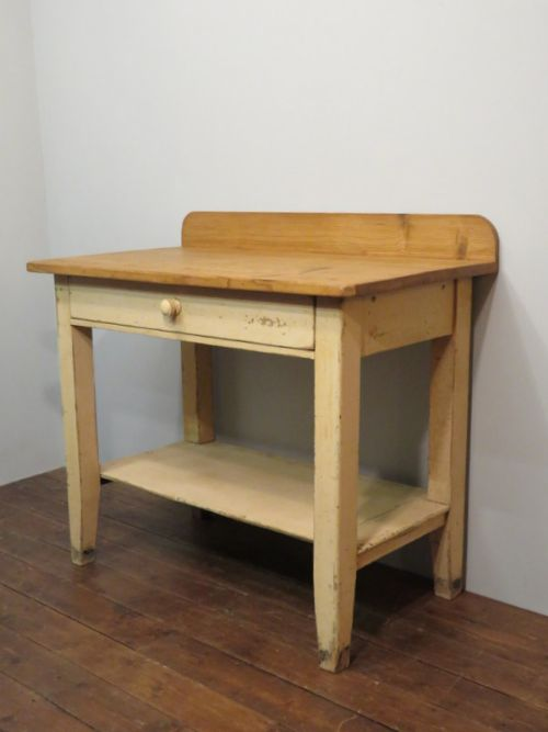antique pine rustic shelved table in original paint 1850