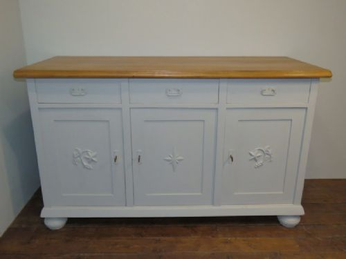 substantial antique painted pine kitchen dresser base island 1900