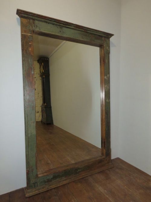 Large Antique Rustic Window Frame Mirror In Original Paint 1870 ...