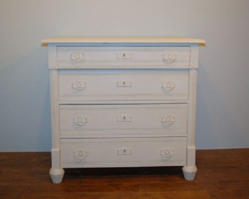 antique painted pine chest of four drawers 1900
