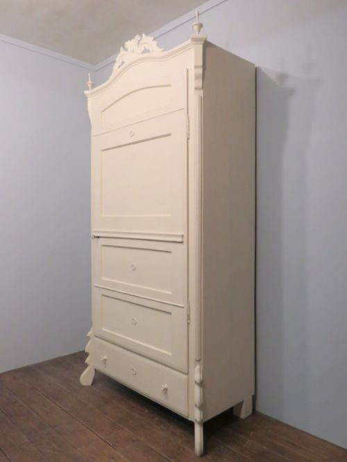 antique painted pine louis philippe storage or linen cupboard 1870
