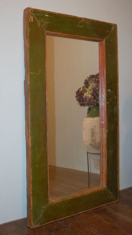 antique painted large wall hanging mirror in original paint
