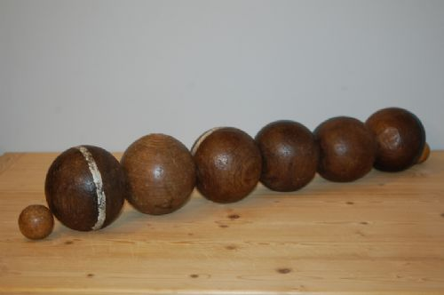 antique set of six french wooden boule bowling balls plus two jacks 1880