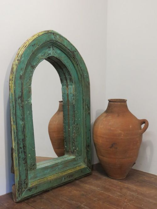 antique gothic style arched mirror in original paint frame 1850