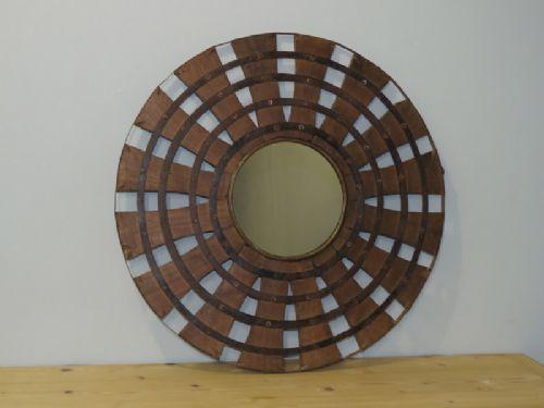 antique wooden wheel mirror