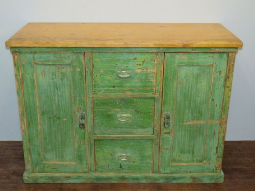 antique pine dresser base in original paint 1860