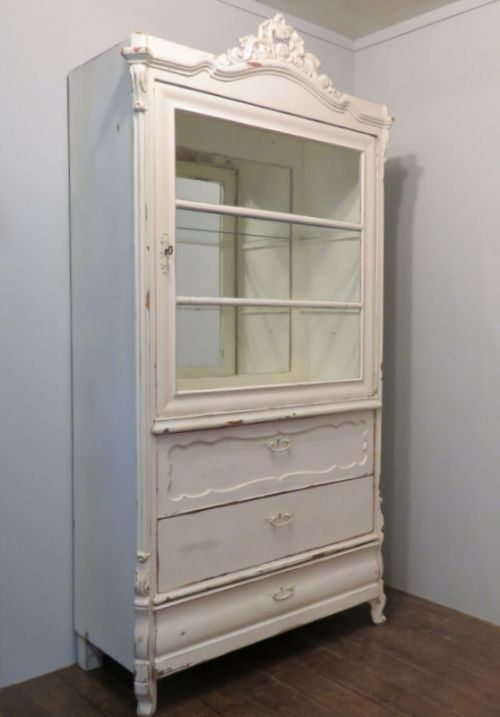 antique pine louis philippe painted glazed display cabinet 1870