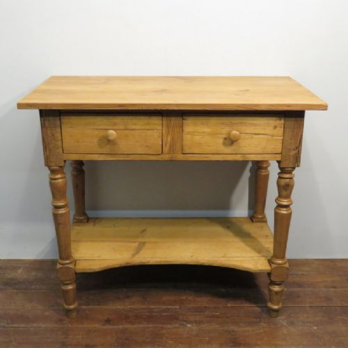 small victorian pine two drawer table 1880