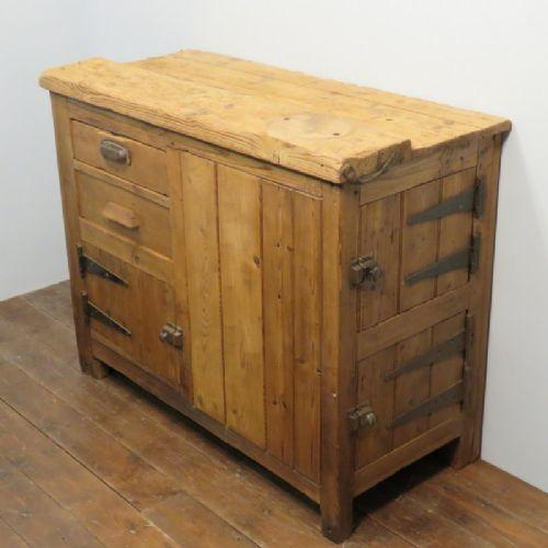 antique pine industrial work island kitchen cupboard 1900