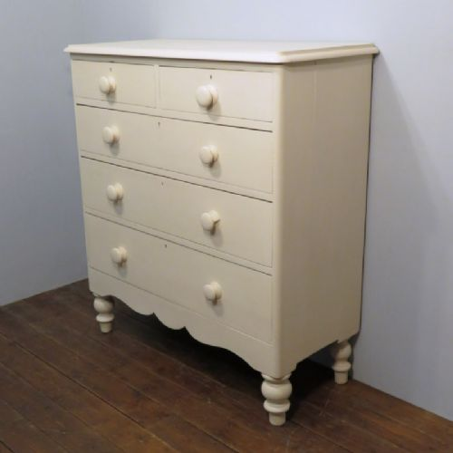 antique painted tall pine west country chest of five drawers 1860