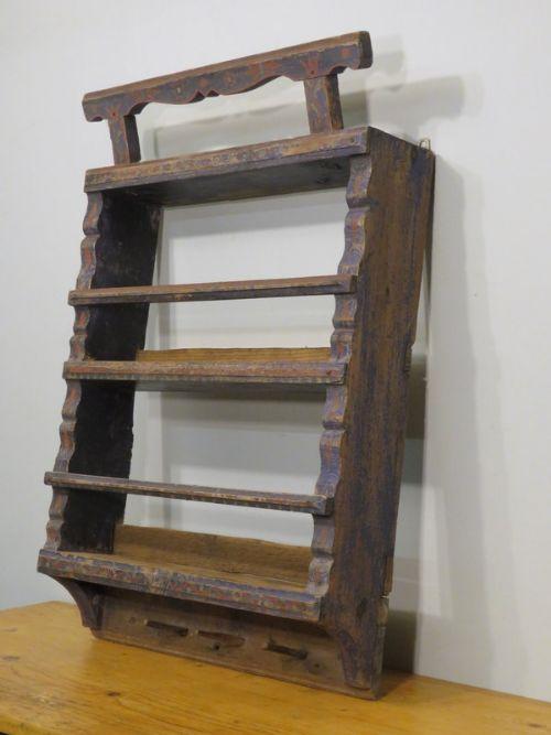 antique decorative rustic spice or herb shelf 1850