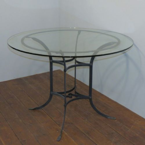Antique French Wrought Iron Garden Dining Table With Glass Top 536734 Sellingantiques Co Uk