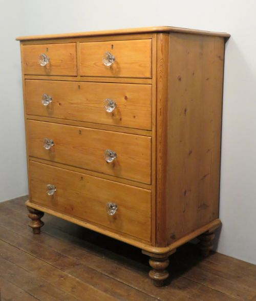 antique victorian tall pine chest of five drawers1880