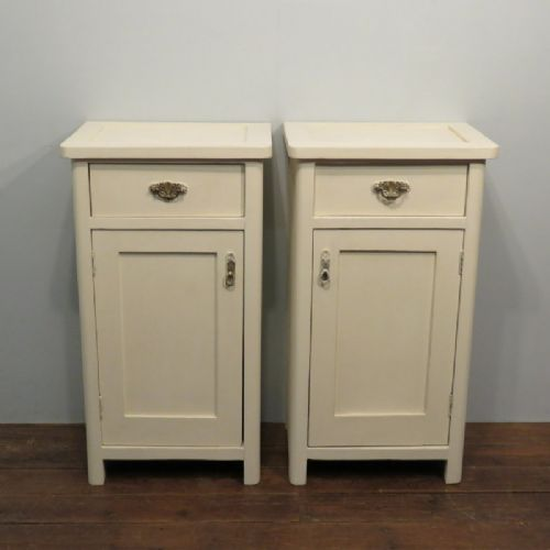 antique pair of painted pine bedside cabinets pot cupboards 1880