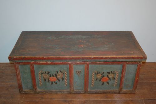 antique rustic pine dowry chest blanket box in original paint