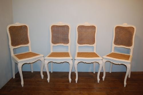 set of four matching french bergere provencale dining chairs 1900