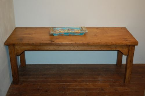 antique pine substantial industrial mill dining kitchen table 1920