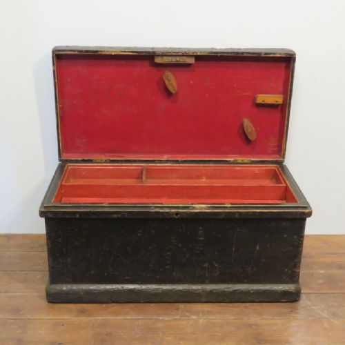 antique victorian joiner's tool box with full interior in original condition 1880