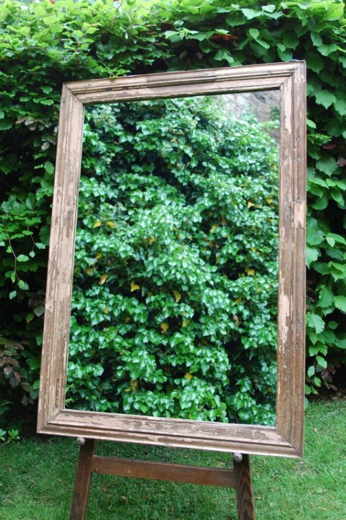 antique hardwood framed original paint rustic mirror 1870