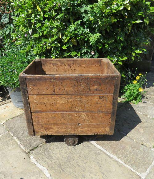 antique late 19th century industrial wooden mill trolley unrestoerd