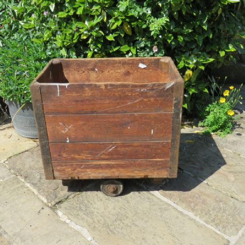 antique late 19th century wooden industrial mill trolley unrestored
