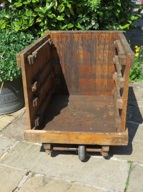 antique wooden industrial open sided mill trolley 1900