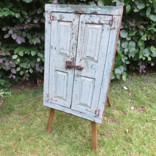 antique shuttered frame with mirror in original paint 1880