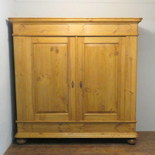 antique rural pine large double wardrobe 1887