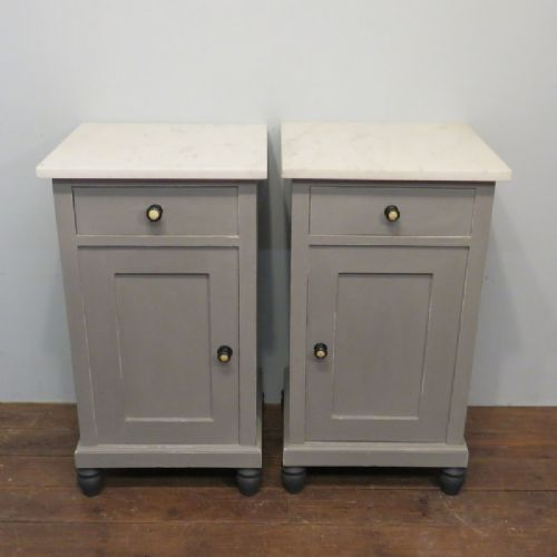 antique pair of painted pine bedside cabinets 1880