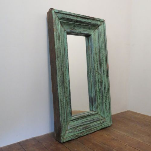 antique hardwood frame mirror in original paint 1870