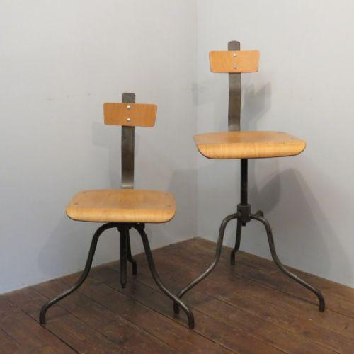 mid century pair of original metal and birchwood laboratory office machinist's swivel chairs 1950