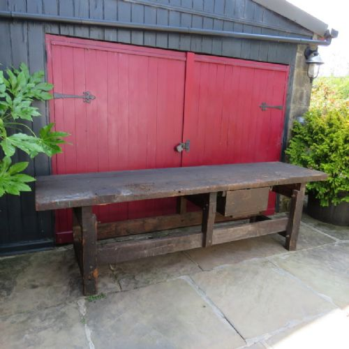 antique victorian heavy industrial pine mill work console table 1880