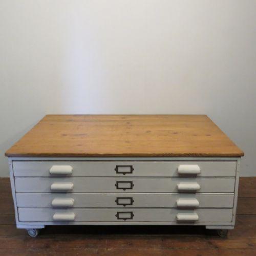 antique edwardian painted pine architect's plan chest 1910