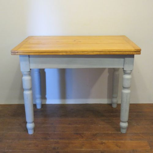 antique pine farmhouse cottage extension kitchen table with painted base 1880