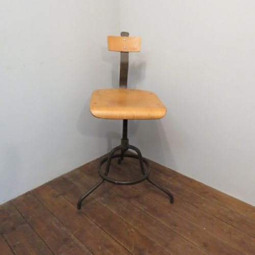 original mid century industrial steel and birchwood office desk or machinist's chair 1950