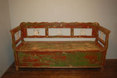 antique farmhouse box settle bench in original paint 1880