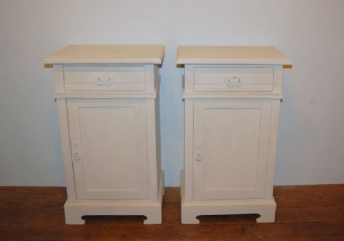 antique pair of painted pine bedside cabinets 1890