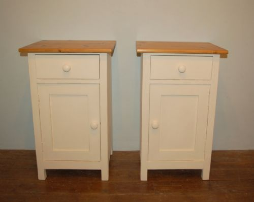 antique pair of painted pine bedside cabinets 1900