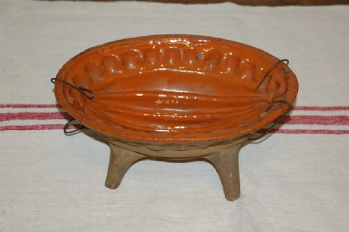 antique decorative glazed terracotta baking mould french alsace 1850
